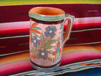 Mexican vintage pottery and ceramics, a lovely petatillo pottery pitcher with wonderful and precise artwork, Tonala or San Pedro Tlaquepaque, Jalisco, c. 1940's. Photo showing the second side of the petatillo pitcher.