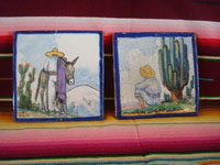 Mexican vintage folk art, and Mexican vintage pottery and ceramics, two beautiful Talavera tiles from the famous Uriarte fabrica, with wonderful scenes of rural Mexican life, Puebla, c. 1930's. Main photo of the Talavera tiles from the Uriarte factory in Puebla.
