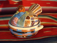 "Mexican vintage pottery and ceramics and Mexican vintage folk art, a pair of small turkey casseroles from Tlaquepaque, Jalisco, c. 1930's. The pair is incredibly well made and well decorated. One of the two is signed near the wing, ""Mexico"". Photo showing the second turkey casserole."