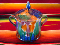 "Mexican vintage pottery and ceramics, a lovely drip-ware lidded bowl, often referred to as Mexican majollica, Oaxaca, c. 1930's. The glaze, which appears to be ""dripped"" over the bowl, is thick and very rich. Another photo of the bowl."