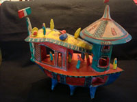 Mexican vintage pottery and ceramics, and Mexican vintage folk-art, a wonderful pottery ship, brightly painted and filled with happy people, attributed to the great Candelario Medrano of Santa Cruz del las Huertas, Jalisco, c. 1960's. Main photo of the Medrano Mexican pottery ship.