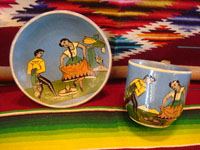 AE-1: Mexican vintage pottery and ceramics, a tea-cup and saucer with incredibly fine artwork, featuring a lovely Charra, dressed in her China Poblana costume, doing the famous dance, El Jarabe Tapatio, Tlaquepaque or Tonala, Jalisco, c. 1930. Main photo.