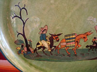 Mexican vintage pottery and ceramics, a beautiful oval platter with a lovely green background and excellent artwork, Tlaquepaque or Tonala, Jalisco, c. 1930's. Another closeup photo of the campesino and his burros.