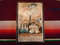 Mexican vintage pottery and ceramics, three pottery tiles with wonderful scenes of Mexican village life, Tonala or Tlaquepaque, Jalisco, each signed on the back by Nicolas Lucano (son of the very famous Balbino Lucano), c. 1970's. Closeup photo of the front of another petatillo pottery tile.
