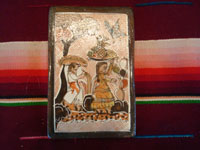 Mexican vintage pottery and ceramics, three pottery tiles with wonderful scenes of Mexican village life, Tonala or Tlaquepaque, Jalisco, each signed on the back by Nicolas Lucano (son of the very famous Balbino Lucano), c. 1970's. Closeup photo of the front of another tile.