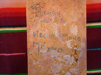Mexican vintage pottery and ceramics, three pottery tiles with wonderful scenes of Mexican village life, Tonala or Tlaquepaque, Jalisco, each signed on the back by Nicolas Lucano (son of the very famous Balbino Lucano), c. 1970's. Photo showing the signature of the artist on the back of one tile.