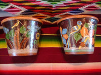 Mexican vintage pottery and ceramics, a pair of planters, very early and with exquisite artwork, Tlaquepaque or Tonala, Jalisco, c. 1920-30's. The scenes decorating these planters are incredible, with verdant plants, burros, birds, and animals, including graceful deer. Main photo.