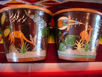 Mexican vintage pottery and ceramics, a pair of planters, very early and with exquisite artwork, Tlaquepaque or Tonala, Jalisco, c. 1920-30's. The scenes decorating these planters are incredible, with verdant plants, burros, birds, and animals, including graceful deer. Another side of the two planters.