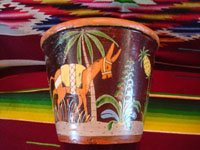 Mexican vintage pottery and ceramics, a pair of planters, very early and with exquisite artwork, Tlaquepaque or Tonala, Jalisco, c. 1920-30's. The scenes decorating these planters are incredible, with verdant plants, burros, birds, and animals, including graceful deer. Another view of a burro under a lovely palm tree.