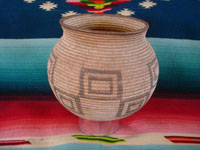 Native American Indian baskets, a wonderful Chemehuevi olla from the Needles, California/Parker, Arizona area, c. 1920. This is a large and very beautiful basket, with fine geometric designs. Main photo of the Chemehuevi basket.