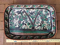Mexican vintage pottery and ceramics, a wonderful petatillo rectangular dish with beautiful and very intricate artwork, signed Jose Barnabe, Tonala or Tlaquepaque, Jalisco, c. 1960's.  Main photo of the Jose Barnabe dish.