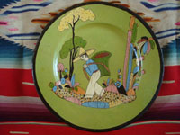 Mexican vintage pottery and ceramics, a wonderful pottery plate with a beautiful pale-green background glazing, and a fine scene of a Mexican campesino in a beautiful rural setting, Tonala or Tlaquepaque, Jalisco, c. 1940's.  Main photo.