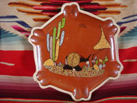 Mexican vintage pottery and ceramics, a very fine pottery octoganal plate with a beautiful background glazing and very fine artwork, Tonala or Tlaquepaque, Jalisco, c. 1940's. Main photo of the front of the plate.