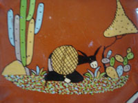 Mexican vintage pottery and ceramics, a very fine pottery octoganal plate with a beautiful background glazing and very fine artwork, Tonala or Tlaquepaque, Jalisco, c. 1940's. Closeup photo of the artwork on the front of the Tonala pottery plate.
