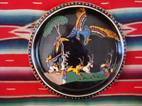 Mexican vintage pottery and ceramics, a wonderful pottery charger with beautiful and very detailed artwork set against a lovely black background glaze, Tonala or Tlaquepaque, Jalisco, c. 1930's.  Main photo of the charger.