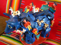 Mexican vintage folk art, and Mexican vintage pottery and ceramics, a wonderful folk-art blue, raging bull with matadors all over his back, attributed to the late Candelario Medrano, Santa Cruz de las Huertas, Jalisco, c. 1950's. Main photo of the bull.