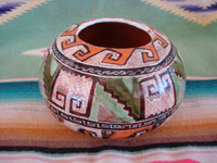 Mexican vintage pottery and ceramics, a lovely and very early petatillo bowl with geometric designs, signed by Agustin Lucano, the originator of the petatillo background hatching pattern, Tonala or San Pedro Tlaquepaque, Jalisco, c. 1920's. Main photo of the bowl.