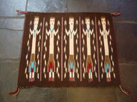 Native American Indian textiles, and Navajo textiles and rugs, a wonderful Yei-pattern textile or rug with beautiful Yei figures, Navajo, Arizona or New Mexico, c. 1970. Main photo of the Navajo Yei rug.