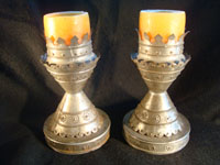 Mexican vintage tinwork art (or tin art), a pair of candle stick holders with wonderful stamping, c. 1940. These are elegant!  Main photo.