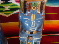 Mexican vintage pottery and ceramics, a pulque or punch set with pitcher and 5 mugs in the form of Aztec gods, c. 1940. Wonderful blue glaze with hand-painted faces and decorations on each piece. Another closeup.