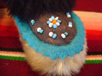 Native American Indian vintage folk art and beadwork, a pair of baby's mocassins from Alaska, probably Aleut, c. 1930-45. The mocassins feature a lovely bird design and wonderfully soft seal skin. Closeup photo of the beadwork on the toes.
