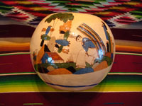 Mexican vintage pottery and ceramics, a beautifully decorated tecomate (round bowl with a small center opening), featuring wonderful and very well-painted scenes of Mexican village life, Tlaquepaque or Tonala, Jalisco, c. 1930's. Main photo of the Tlaquepaque pottery tecomate.