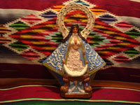 Mexican vintage pottery and ceramics, and Mexican vintage devotional art, a beautiful pottery image of Our Lady (probably Nuestra Senora de Zapopan, which is just outside of Guadalajara), Tlaquepaque or Tonala, Jalisco, c. 1930-40's. Main photo.