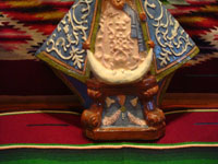 Mexican vintage pottery and ceramics, and Mexican vintage devotional art, a beautiful pottery image of Our Lady (probably Nuestra Senora de Zapopan, which is just outside of Guadalajara), Tlaquepaque or Tonala, Jalisco, c. 1930-40's. Closeup photo of the base of the Tlaquepaque pottery Madonna.