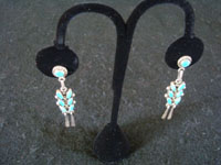 Native American Indian vintage silver jewelry, and Navajo silver jewelry, a lovely pair of dangling sterling silver earrings with turquoise, Arizona or New Mexico, c. 1950's. Another view of both Navajo silver jewelry earrings.