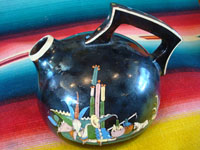 Mexican vintage pottery and ceramics, a very beautiful blackware pitcher from San Pedro Tlaquepaque or Tonala, Jalisco, c. 1930's.  Main photo of the Tonala or Tlaquepaque pottery pitcher.