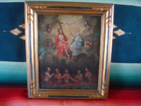Mexican vintage fine art, and Mexican colonial devotional art, an exquisite oil painting of the Holy Trinity, surrounded by angels, and with Animas in Purgatory below, c. 18th or early 19th century.  Main photo of the painting.