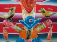 Mexican vintage folk art, and Mexican vintage pottery and ceramics, a beautiful pottery tree-of-life, with vibrant colors and a wonderful patina, Azucar de Matamoros, Puebla, c. 1940's. Closeup photo of the birds near the base of the piece.