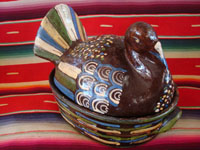 Mexican vintage folk art, and Mexican vintage pottery and ceramics, a pottery casserole with lid, in the shape of a lovely black turkey, Tonala or Tlaquepaque, Jalisco, c. 1930's. Main photo of the blackware turkey.