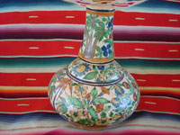 Mexican vintage pottery and ceramics, a lovely water jar with drinking cup, with petatillo background and astounding artwork, Tonala or Tlaquepaque, Jalisco, c. 1930's.  Main photo of the Tlaquepaque pottery jar.
