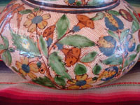 Mexican vintage pottery and ceramics, a lovely water jar with drinking cup, with petatillo background and astounding artwork, Tonala or Tlaquepaque, Jalisco, c. 1930's.  Closeup photo of a part of the Tonala or Tlaquepaque pottery water jar.