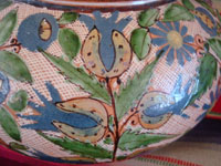 Mexican vintage pottery and ceramics, a lovely water jar with drinking cup, with petatillo background and astounding artwork, Tonala or Tlaquepaque, Jalisco, c. 1930's.  Another closeup photo of a side of the Tlaquepaque pottery water jar.