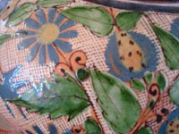 Mexican vintage pottery and ceramics, a lovely water jar with drinking cup, with petatillo background and astounding artwork, Tonala or Tlaquepaque, Jalisco, c. 1930's.  Closeup photo of the wonderful petatillo background and fine artwork on the jar.
