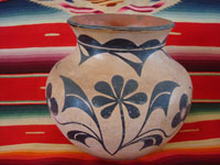 Native American Indian antique pottery, a beautiful pottery olla or vase, Santo Domingo Pueblo, c. 1900. The artwork on this olla is incredibly beautiful, with a wonderful bird and beautiful floral decorations.  Photo of another side of the Santo Domingo Pueblo pottery olla.