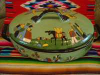 Vintage Mexican pottery and ceramics, a lovely lidded casserole with beautiful, hand-painted rural scenes on a pale green background, stamped on the bottom with the name of the famous pottery artist, Balbino Lucano, Tonala or Tlaquepaque, Jalisco, c. 1930-40's. Main photo of the casserole by Balbino Lucano.
