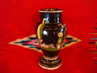 Mexican vintage pottery and ceramics, a beautiful blackware pottery vase with wonderful, hand-painted scenes of Mexican rural life, Tonala or Tlaquepaque, Jalisco, c. 1930. Another side view of a part of the vase.