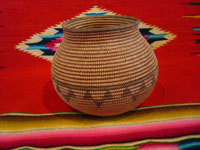 Native American Indian vintage baskets, a beautiful Chemehuevi olla with wonderful shape and decoration. c. Parker, Arizona, c. 1890-1900. Main photo of the Chemehuevi olla basket.