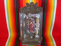 Mexican vintage devotional art, and Mexican vintage tinwork art, a lovely pottery statue of Our Lady of Guadalupe in a finely shaped and stamped tinwork-art nicho, c. 1950's. Another frontal view of the nicho.