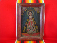 Mexican antique devotional art, and Mexican Colonial paintings and fine art, a beautiful painting of Our Lady of San Juan de los Lagos, c. 1800's.  Main photo of the painting.
