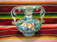 Mexican vintage pottery and ceramics, a beautiful Tlaquepaque pottery vase with a very graceful design and wonderful artwork, Tonala or San Pedro Tlaquepaque, Jalisco, c. 1930's. Main photo of the vase.