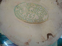 Mexican vintage pottery and ceramics, a beautiful Tlaquepaque pottery vase with a very graceful design and wonderful artwork, Tonala or San Pedro Tlaquepaque, Jalisco, c. 1930's. Photo of the bottom of the vase with the maker's stamp and a date.