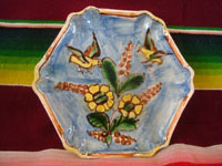 Mexican vintage pottery and ceramics, three lovely Tlaquepaque plates with beautiful floral artwork and with wonderful birds, Tonala or San Pedro Tlaquepaque, c. 1930's. A photo of one of the plates showing two birds flying above lovely flowers.