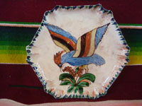 Mexican vintage pottery and ceramics, three lovely Tlaquepaque plates with beautiful floral artwork and with wonderful birds, Tonala or San Pedro Tlaquepaque, c. 1930's. A photo of one of the plates showing a bird with colorful spread wings.