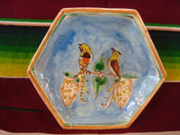 Mexican vintage pottery and ceramics, three lovely Tlaquepaque plates with beautiful floral artwork and with wonderful birds, Tonala or San Pedro Tlaquepaque, c. 1930's. A photo of the third plate, showing two lovely birds atop lovely flowers.