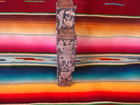 Mexican vintage devotional art, and Mexican vintage folk art, a beautiful wooden cross filled on three sides with silver milagros, c. 1950's. Photo of one side of the cross.
