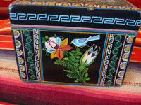 Mexican vintage wood carving, and Mexican vintage folk art, a laquered box from Olinala, Michoacan, with fantastic birds and foliage, c. 1950. Another view of another side of box.